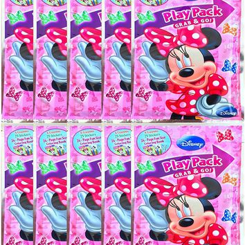 Party Favors Minnie Mouse Play Pack Grab Coloring Book & Crayon Set 6 Pack