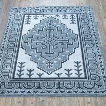 """Silver Grey Black Large Abstract Faux Wool Area Rug Exact Size 5'4"""" X 7'5"""""""