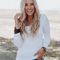 Long Sleeve Seamless Top - White