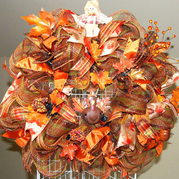 Fall Thanksgiving Turkey Deco Mesh Wreath by KraftyKreations4You