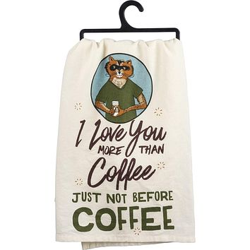 I Love You More Than Coffee Hipster Fox Dish Towel