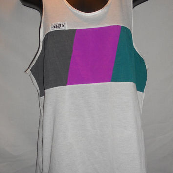 Vintage 80s Sub 4 Tank Top Purple Teal Grey White