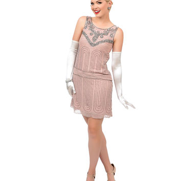 1920s Style Blush Pink & Silver Hand Beaded Deco Shift Dress