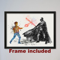 Star Wars Harry Potter Darth Vader Poster Watercolor Print Fine Art Giclee Movie Poster Decor Lord Vader starwars Fans Duel FRAMED express