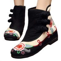 Vintage Beijing Cloth Shoes Embroidered Boots black 35