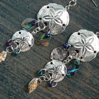 double sand dollar abalone earrings abalone seashells in beach boho gypsy hippie  tribal belly dancer  beach hipster and fantasy style