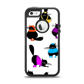 The Cute Fashion Cats Apple iPhone 5-5s Otterbox Defender Case Skin Set
