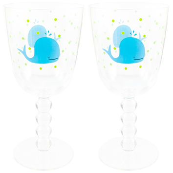Whale Swimming Set Of Two Acrylic Wine Glasses