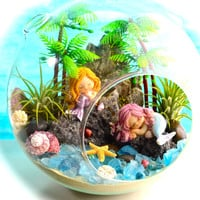 "Mermaid Beach Terrarium Kit ~ 8"" Air Plant Terrarium Kit ~ Coastal Living Beach Decor ~ 2 Mermaids on a Rock ~ Aloha ~ Mermaid Choice ~ Gift"