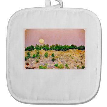 Ute Park Colorado Watercolor White Fabric Pot Holder Hot Pad by TooLoud