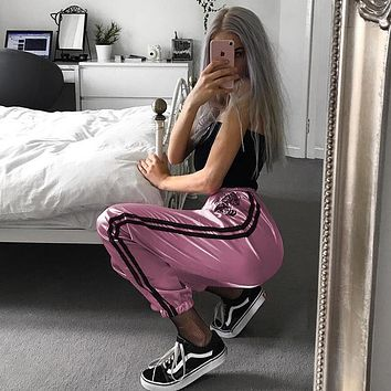 Women Casual Fashion Embroidery Tiger Stripe High Waist Leisure Harem Pants Trousers Sweatpants