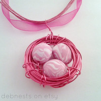 Pink Bird Nest Necklace with Polymer Clay Beads, Pink Copper Wire, Pink Ribbon Necklace