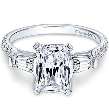 "Gabriel ""Sheryl"" Emerald Cut & Tapered Baguette Diamond Engagement Ring"