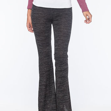 Lily White Marled Space Dye Womens Flare Pants Black/Grey  In Sizes