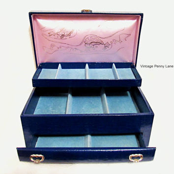 Vintage Buxton Blue Leatherette Jewelry Box Container, 3 Layer