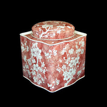 Daher Tin Tea Box Small Scalloped Edges Cherry Blossom Floral Made in England Long Island NY Vintage Decorative Tin Container Mothers Gift