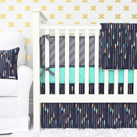 Tribal Arrow Baby Bedding | Navy and Gold Crib Bedding Set