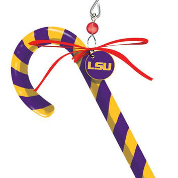 LSU Tigers Clay Dough Candy Cane Ornament