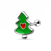 Christmas Tree Heart Stainless Steel Stud Cartilage Tragus Earring