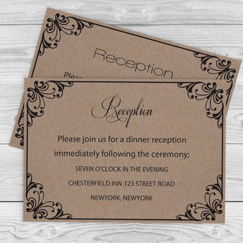 Kraft Paper Wedding Reception Card - Rustic Flourish DIY Printable Reception Card Editable PDF Template- Download Instantly - DIY You Print