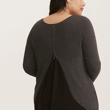 Charcoal Grey & Black Chiffon Inset Zipper Back Sweater