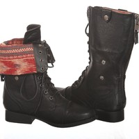 New! Aztec Military/combat Boots Lace up + Zipper