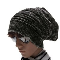 uxcell® Men Warm Winter Textured Design Stretch Knit Cap Beanie Hat