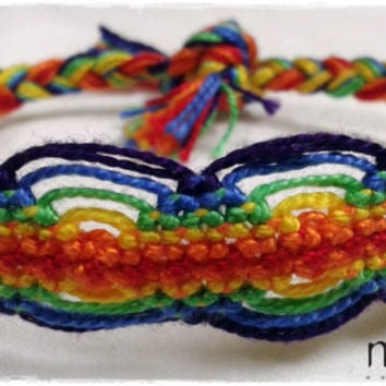 Rainbow Two Sided Macrame Knotted Friendship Bracelet - Woven Wristband - Support our Cause