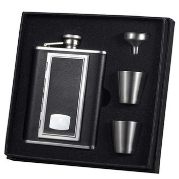 Visol SP Black Leather Cigarette Case-Deluxe Hip Flask Gift Set - 6 oz