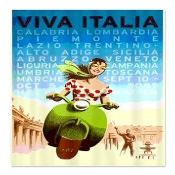 Viva Italy Poster Shower Curtain> Coastal, Vintage and Urban Chic Shower Curtains> Rebecca Korpita Coastal Design