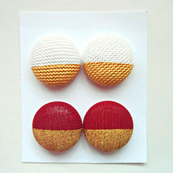 Red White Gold Stud Earrings Post Set of 2 Fabric Button Earring Studs Stocking Stuffer Jewelry