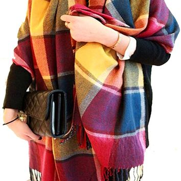 CHASOEA Womens Tassels Plaid Blanket Tartan Scarf Long Shawl Winter Warm Lattice Large Scarf
