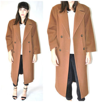 BOXY long wool coat vintage 1980s 80s MINIMALIST menswear inspired petite double breasted jacket os