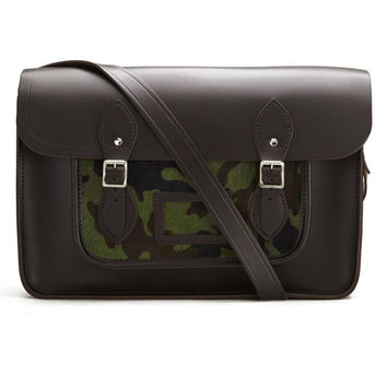 Black and Camo Fur Hybrid Messenger Bag