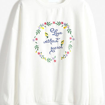 White Floral Embroidery Sweatshirt