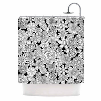 "Julia Grifol ""Welcome White Birds"" Black Floral Shower Curtain"