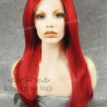 """24"""" Heat Safe Synthetic Straight Texture Lace Front """"Aphrodite"""" in Red"""