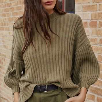 UO Lou Mock-Neck Pullover Sweater   Urban Outfitters
