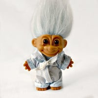 Vintage 1990s Russ Troll Doll, Collectible Troll, Light Blue Hair Russ Sailor Troll, Boy Nautical Troll, Amber Eyes, Russ Berrie Troll Toy