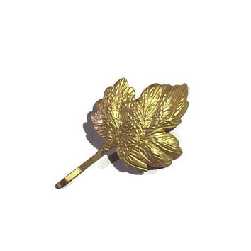 Gold Maple Leaf Hair Clip, Gold Bobby Pin, Gold Hair Pin, Maple Leaf Hair Clip, Gold Hair, Wedding Hair Clip, Bridesmaids Gifts
