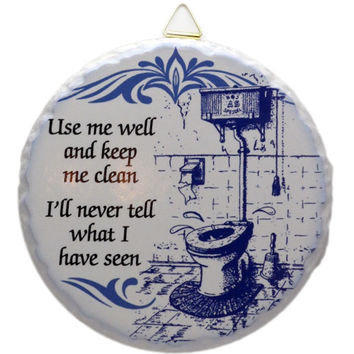 Round Ceramic Plaque: Bathroom
