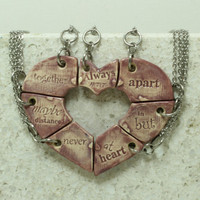 Friendship jewelry Heart puzzle pendants set of 7 Always together quote Purple