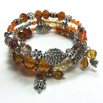Crystal Glass Wrap Bracelet - Memory Wire Bracelet - Orange Wrap Bracelet - Beaded Bracelet - Brown and Orange Bracelet TDC491