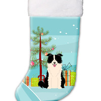 Merry Christmas Tree Border Collie Black White Christmas Stocking BB4243CS
