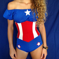 Captain America costume, Superhero. Custom made