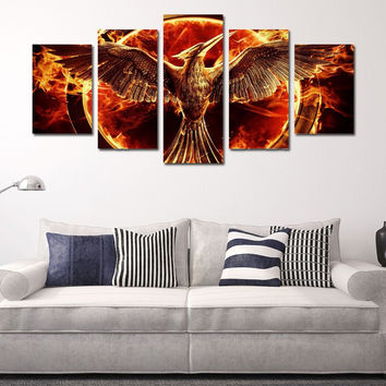 5 Pieces Modern Wall Art Canvas Printed Painting Flame Eagles HD Picture Home Wall Decor Canvas Print Oil Painting Unframed