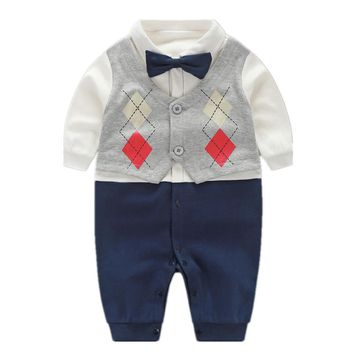 Handsome Baby Rompers 2018 Newborn 0-18M Gentleman Clothing Set Infant Bow Tie Costume Cotton Baby Jumpsuit Baby Boy Clothes