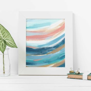 Modern Abstract Beach Ocean Waves Swell Painting Wall Art Print
