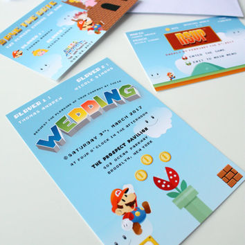 Super Mario wedding invitation Save the Date, Mario and Peach Geek Video games Wedding Stationery, Wedding Nintendo Save The Date - DEPOSIT
