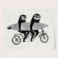 Surfing Sloth Tandem Sloth Art Print | Urban Outfitters